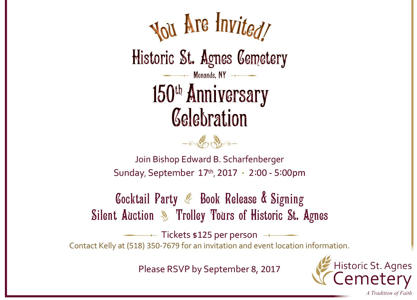 150th anniversary celebration historic st agnes cemetery 150th anniversary historic st agnes cemetery online invitation stopboris Image collections