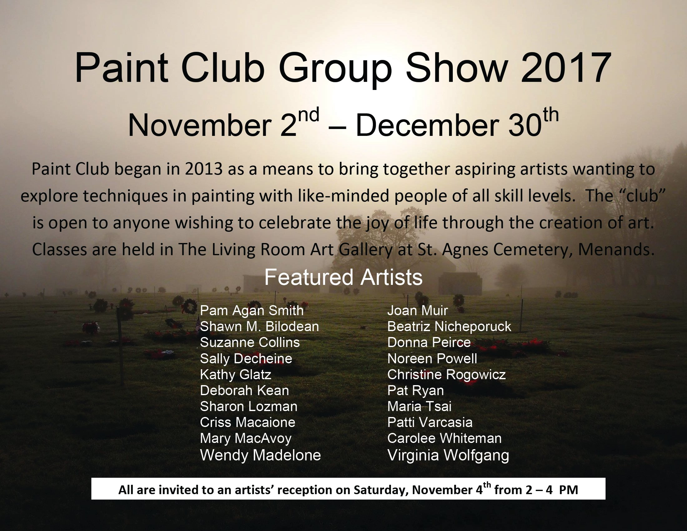 Paint Club Group Art Exhibit 2017 flyer