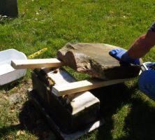 Example of a broken gravestone