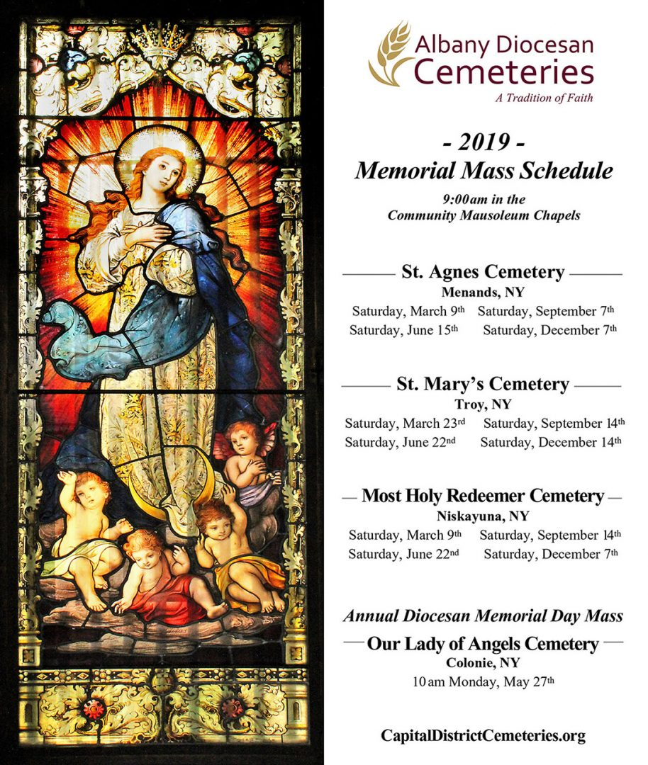 2019 Memorial Mass schedule image