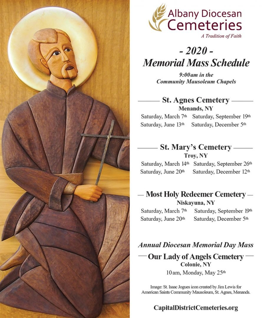 Memorial Mass Schedule 2020 image