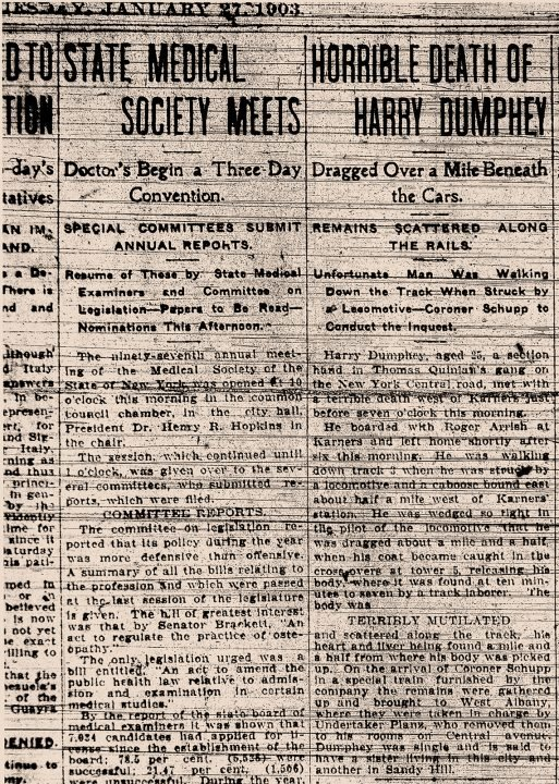 Henry Dunphy Albany Times Union article Jan 27, 1903