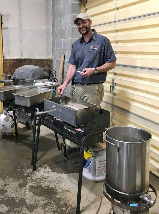 Luke McGarry making maple syrup 2019