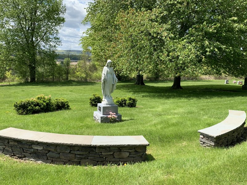 Memorial sculpture of Mary in St. Mary's Cemetery Coxsackie, NY.