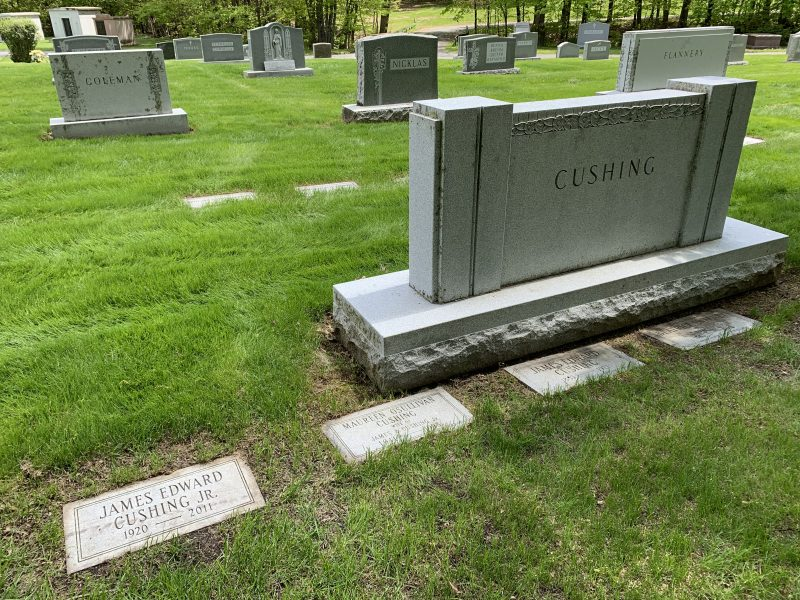 The Cushing lot at Most Holy Redeemer Cemetery, Niskayuna, NY