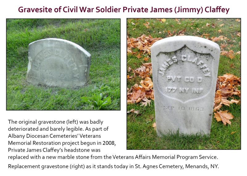 Civil War soldier Private James (Jimmy) Claffey's gravestone, before and in 2019