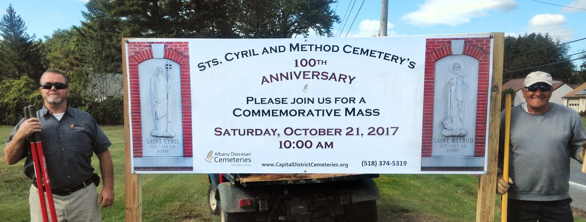 Sts. Cyril & Method Cemetery 100th Anniversary banner sign