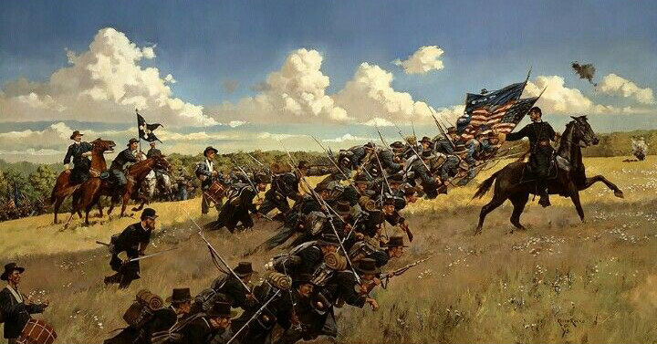 """General Reynolds leads the Iron Brigade into the fray on the first day at Gettysburg, moments before his death. """"The Chosen Ground"""" artwork by Keith Rocco"""""""