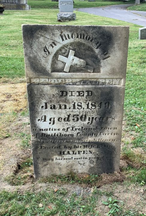 Peter Halpen gravestone restored. before cleaning