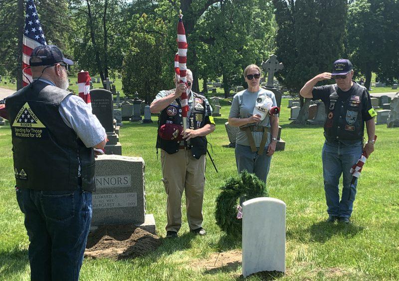Patriot Guard Riders salute Connors gravestone